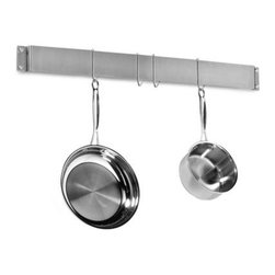 Cuisinart - Cuisinart Brushed Stainless Steel Wall Bar Pot Rack - This wall bar pot rack is a great way to hang your pots and pans when space is limited in the kitchen. Brushed stainless steel finish is sleek and attractive.