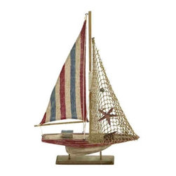 "Wood Rope Sailboat Decor 78732 - Wood Rope Sailboat Decor features replica sailboat with red, white, and blue striped sail and wood stand. 17"" x 28"""