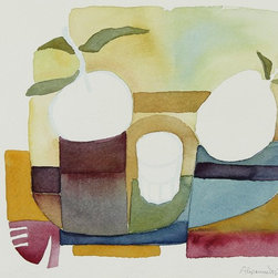 Lost Art Salon - 1981 Watercolor Abstracted Still Life Original by Alysanne McGaffey - Simply pleasing shapes and muted colors let this original artwork fit seamlessly with your decor. The watercolor on paper is by Alysanne McGaffey, a member of the significant Bay Area Figurative Movement of the late 1950s and early '60s.