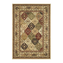 Safavieh - Lyndhurst Collection Multicolor/ Beige Rug (4' x 6') - The Lyndhurst rug has a multicolor background with stunning panel colors of green,red,ivory,rust and beige. This area rug is constructed of an enhanced polypropylene pile that keeps dirt out and keeps the rug looking great for years
