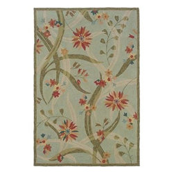 """LR Resources - Indoor Area Rug: Transitional Blue Rectangle 7' 9"""" X 9' 9"""" Plush - Shop for Flooring at The Home Depot. Bee Balm and Star Flowers Float Amongst Oversized Slender Leaves on a Solid Background. Hand-Hooked Loop Adds Texture to the Beauty of the Design. This area rug provides style and the durability to stand-up to your busiest homes. Order this beautiful area rug today."""