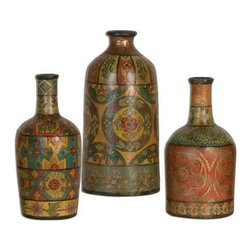 Uttermost Sachi Terracotta Vases S/3 - Beautiful hand painted terracotta in multiple color tones and patterns. Made of terracotta, these vases feature hand painted designs in multiple colors and patterns. Sizes: sm-5x11x5, med-6x11x6, lg-5x13x5