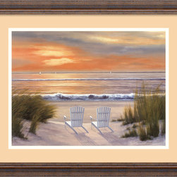 Amanti Art - Paradise Sunset Framed Print by Diane Romanello - You are here. That's your chair in the foreground and it's the back yard of your new beach chalet. Why not? This beautifully reproduced, framed and matted print is priced so that your dreams can afford to move a bit closer.