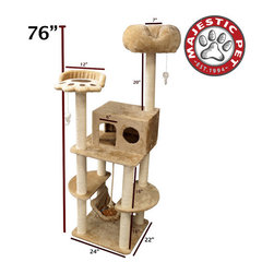 "Majestic Pet - 76"" Casita Fur Cat Tree - Features: -Covered in elegant Faux Sheepskin with Sisal Rope wrapped posts that will withstand the toughest claws.-Features a third story residence, a hammock, a paw perch for cat, a comfy cushion perch, a rope toy and two dangly mice.-Assembles in minutes with simple step by step instructions and tools provided.-Cleans easily with a vacuum and damp cloth.-Also available in Sherpa.-Distressed: No.-Country of Manufacture: United States.Dimensions: -Overall Dimensions: 76'' H x 32'' W x 35'' D.-Overall Height - Top to Bottom: 76.-Overall Width - Side to Side: 76.-Overall Depth - Front to Back: 35.-Overall Product Weight: 62 lbs."