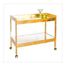 Worlds Away - Worlds Away Roland Gold Leafed Bar Cart - Worlds Away Roland Gold Leafed Bar Cart