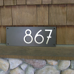 "Custom Contemporary Address Plaque with 5"" Bungalow House Numbers - This is a new product we're offering, measuring 18""long x 7"" high x 3/16"" thick. Your three-digit address sits aligned to the right for a contemporary twist on address plaques. You choose the finish for the plaque and for the numbers. Plaques arrive completely assembled; all you need to do is install it to your preferred location."