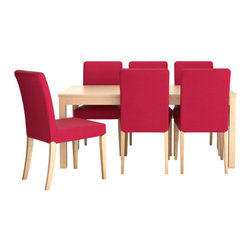 Tord Björklund/IKEA of Sweden - BJURSTA/HENRIKSDAL Table and 6 chairs - Table and 6 chairs, birch veneer, Idemo red