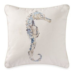 C & F Enterprises, Inc. - Madeira 18-Inch Square Seahorse Toss Pillow - The distinctive sea horse toss pillow updates your decor with color and character and adds a coastal accent to any room. It also complements the Madeira bedding beautifully.