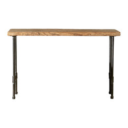 Urban Wood Goods - Modern Industry Reclaimed Wood Console Table - Industrial inspired style in a table you can adjust to any size you prefer for your kitchen, dining room, for serving wine and cheese or just setting down your mail and keys. Use as a sofa table or hallway entry table. This charming, elegant but rustic table is created by skilled artisans out of a salvaged floor joist from a deconstructed barn, home or other structure in the Chicago metro area and midwestern states.