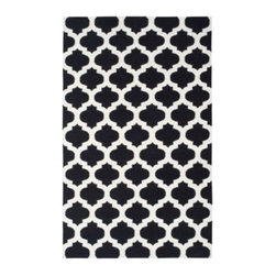 Z Gallerie - Casablanca Dhurrie Rug - Black/Ivory - Our stunning Casablanca Dhurrie Rugs bring a touch of exotic style to complement a variety of decor settings. Artfully hand woven in India, this lush 100% wool traditional flat Dhurrie weave rug showcases black with natural ivory in a traditional quatrefoil motif.