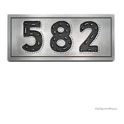 """Rustic Modern Address 13"""" x 7"""" in Recessed Pewter - The Rustic Modern Address Plaque obviously has a conflicted name. Rustic and Modern are words that would seem to be discord with each other. The plaque begins with the playfully modern True North font with eclectic enhancing dots and dashes that suit your one-of-a-kind home and unique artistic personality. All very modern."""