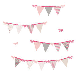 "WallPops - Hailey Pennant Wall Art Decal Kit - Celebrate your new baby every day with these darling pennant flag garland decals. With pretty pink gingham ribbons, and a precious patchwork of designs, these baby decals create an extra special look in any room. This WallPop Comes on 2 17.25"" x 39"" Sheets and contains 32 Pieces Total. WallPops are repositionable and always removable."
