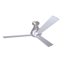 "Altus Hugger Fan Brushed Aluminum - 42"" - The Altus Hugger ceiling fan by the Modern Fan Company offers the same clean, organic lines of the standard Altus ceiling fan in a compact design suitable for rooms with low ceilings. The hugger configuration leads to an overall height of only 12 inches. By positioning the three fan blades near the bottom of the fan, maximum airflow efficiency can be achieved."