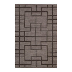 """Barclay Butera Lifestyle - Barclay Butera Lifestyle BBL3 Maze MAZ02 2'3"""" x 8' Slate Area Rug 19014 - These striking flatweave rugs feature exciting colors and an interlocking geometric pattern for a look that is tantalizing, fashion-forward and trendy. Made of wool and cotton, the two-tone color palette is versatile as well as appealing and sure to be the focal point of any room."""