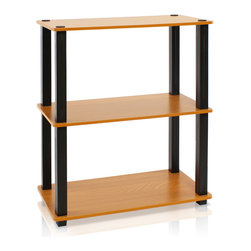 Furinno - Furinno Ultra 13155(S)-6 Toolless Shelf, Light Cherry/Black, 3-Tier - This series is designed to meet the demand of fits in space, fits on budget and yet durable and efficient furniture. It is proven to be the most popular RTA furniture due to its functionality, price, and the no hassle assembly. The DIY project in assembling these products can be fun for kids and parents. There are no screws involved, thus it is totally safe to be a family project. Just turn the tube to connect the panels to form a storage shelf. The materials comply with eco-friendly  particle board for furniture processed from parts of rubber trees. There is no foul smell of chemicals, durable and it is the most stable particleboard used to make RTA furniture.