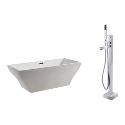 "AKDY - AKDY 67"" AK-ZF296A+8711 Euro Style White Acrylic Free Standing Bathtub w/ Faucet - AKDY free standing acrylic bathtubs come in many styles, shapes, and designs. The acrylic material used for tubs is very durable, light weight, and can be molded into a variety of shapes and styles which explain the large selection available in this product category. Acrylic free standing tubs are a cost efficient way to give your bathroom a unique beautiful touch. A bathtub is no longer just a piece of cast iron metal thrown into a bathroom by a builder."