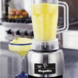 Waring Pro HPB300 MegaMix Professional Specialty Blender - Take your kitchen to another level with the Waring Pro HPB300 MegaMix Professional Specialty Blender. Called mega for a reason, this more-than-a-blender is your one-stop solution for excellent soups, superb dips, and delicious drinks. Ready to mix it up!?Additional features:Made in the USAExtra-large polycarbonate carafe is dishwasher-safeRemovable steel blade is also dishwasher-safeSophisticated stainless steel body and brushed steel finishStandard 1-year product and service warranty; 5-year motor warrantyAbout WaringIf you've ever used a blender, you can thank Fred Waring, inventor of the blendor or, as he first called it the disintegrating mixer. That was back in 1936. Since then, he has changed the name to blender and established Waring, a global company that proudly makes professional-quality kitchen products. The company has two product divisions: Waring Pro and a commercial division. In recent years, Waring Pro has broadened its market reach with everything from deep fryers and waffle makers to wine chillers and food dehydrators.