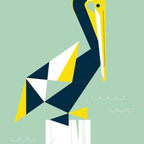 "Mid-Century Modern Art Illustrations by Eleanor Grosch - Eleanor Grosch's ""Chirp & Squeak Pelican"" available in sizes 10x14 and 18x24. See more of Eleanor's Nautical Themed Modern Artwork for the Home on our website."
