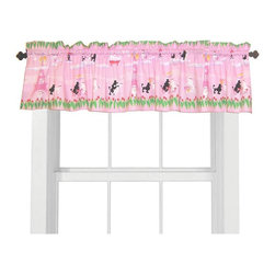 Room Magic - Room Magic Poodles in Paris Window Valance - RM14-PP - Shop for Window Treatments from Hayneedle.com! The Room Magic Poodles in Paris Window Valance pairs perfectly over the set's curtain window panels. Coordinating with the series' bedding set knobs and accessories this valence gives your baby girl's room a completely finished look. This adorable designer fabric has sweet little vignettes of Parisian poodles falling in love as they dance the tango sip cafe and rub noses while they stroll through the tulip-lined streets of Paris.About Room MagicRoom Magic doesn't just make children's furniture; they design furniture specifically for children using the magic of childhood imagination and creativity as a guiding principle. Beginning in 1999 with graphic designer Karen Andrea's attempt to create a truly lively and unique room for her five-year-old daughter Sarah the company has maintained a focus on using bright colors and unique themes that steer clear of cliched motifs. Bright and bold playful cut outs decorate the quality hardwood pieces finished with beautiful stains. With collections that are geared both to boys and to girls Room Magic provides the furniture accessories and bedding you need to bring the magical fun of childhood to your kids' rooms.