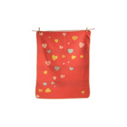 David Fussenegger - Heart Receiving Blanket, Red - This beautiful heart blanket is made by David Fussenegger. It has stitched edge and measures 28x36 inches. Made of 95% Cotton 5% Rayon. Available in three colors, pink, red and off white. Made in Austria.