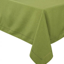 Xia Home Fashions - Melrose Easy Care Cutwork Hemstitch 70-Inch By 140-Inch Tablecloth, Spring Green - Solid color faux hemstitch easy care table linens add simple sophistication with the added bonus of easy care. Mix and match colors to create a unique look of your own!