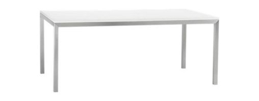 White Top/ Stainless Steel Base 72x42 Parsons Dining Table - Start with the perfect base. Clean simple lines in four dining sizes are made of stainless steel with a contemporary matte finish and mitered corners. Highly durable powdercoated low-emission engineered wood top is heat-resistant and anti-microbial.