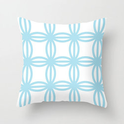 Connection Pillow Cover in Aqua - Colorful circles make a classic link pattern across this pretty poplin pillow cover. Pair it with a textured cushion in a complementary color for a bold graphic punch!