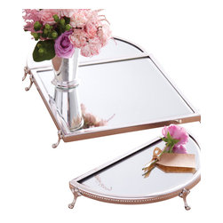 Classic Set of 3 Mirrored Plateau Trays - Elegantly functional and formal enough for high tea is this classic set of 3 mirrored plateau trays. One square and two semi circles come together to form one lovely, delicately footed oval tray to place a small vase with flowers, a silver teapot and some small Hors d'oeuvres on to enjoy in your formal dining room. This fancy tray exudes regality and absolute beauty.