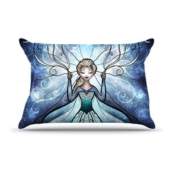 """Kess InHouse - Mandie Manzano """"The Snow Queen"""" Frozen Pillow Case, Standard (30"""" x 20"""") - This pillowcase, is just as bunny soft as the Kess InHouse duvet. It's made of microfiber velvety fleece. This machine washable fleece pillow case is the perfect accent to any duvet. Be your Bed's Curator."""