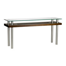 Hokkaido End Table - The Hokkaido End Table by BDI combines industrial stainless steel legs. with a sculptural wood grain cut-out shelf. The sleek glass table top looks as though it is floating. Perfect for the entry in a modern home or office. Pick from 3 color options are offered for the middle shelf.