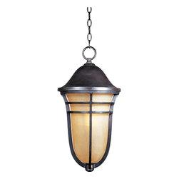 Maxim Lighting - Maxim Lighting Westport VX Traditional Outdoor Hanging Lantern X-TACM70104 - Make the right choice by decorating with this Maxim Lighting Westport VX Traditional Outdoor Hanging Lantern. It features a mocha cloud shade enclosed in a beautifully designed frame in a stunning Artesian bronze finish that hangs from a chain. This 21.5-inch-tall lantern is made with a non-corrosive, UV resistant material called Vivex.