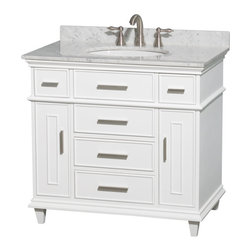 "Wyndham Collection - Wyndham Collection 36"" Berkeley White Single Vanity & White Carrera Marble Top - If your bathroom's asking you for a facelift, the Berkeley is a worthy choice. At once elegant, classic and contemporary, the Berkeley vanity lends an air of sophistication and charm to any bathroom, from a Soho penthouse to a rustic country home. Carefully hand built to last for decades and finished in White or Dark Chestnut, this solid wood vanity is trimmed with brushed chrome hardware to compete the timeless look. Available in multiple sizes and finishes."