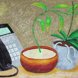 Orchid, Bamboo, And Phone (Original) By Daniel Calderon - View of the plants and the phone which are visible from the drawing table at my office.