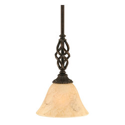 "Toltec - Toltec 80-DG-508 Dark Granite Finish Mini Pendant - Toltec 80-DG-508 Dark Granite Finish Mini Pendant with 7"" Italian Marble Glass Shade"