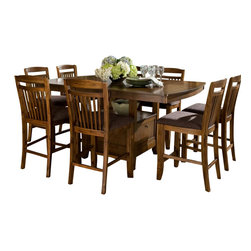Homelegance - Homelegance Marcel 9-Piece Counter Dining Room Set with Storage Base - A classic addition to your casual dining room, your family and friends will enjoy the times they spend sitting around the Marcel collection. Seating 8 comfortably, the storage base counter height with butterfly leaf table is flanked by slat-back chairs featuring a warm brown fabric seat. Each piece of the collection is finished in a warm oak tone. The coordinating server features wine rack, drawer and door storage.
