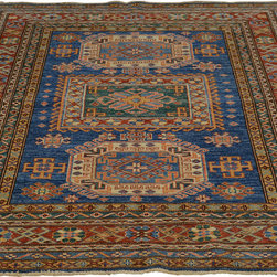 5'x7' 100% Wool Super Kazakh Hand Knotted Geometric Design Oriental Rug Sh18242 - Our Tribal & Geometric hand knotted rug collection, consists of classic rugs woven with geometric patterns based on traditional tribal motifs. You will find Kazak rugs and flat-woven Kilims with centuries-old classic Turkish, Persian, Caucasian and Armenian patterns. The collection also includes the antique, finely-woven Serapi Heriz, the Mamluk Afghan, and the traditional village Persian rug.