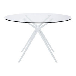 "LexMod - Tilt Dining Table in White - Tilt Dining Table in White - Dont trust first impressions when it comes to the elements of decor. Tilt is an expansively designed modern dining table that is surprisingly steady and sure-footed. Topped with an oval-shaped tempered glass top and powder coated aluminum legs, let Tilt take you beyond expectations with a carefree and counter-intuitive look that escapes definition. Set Includes: One - Tilt Dining Table Modern dining table, Over-shaped tempered glass top, Powder coated metal legs, Easy wipe clean surface Overall Product Dimensions: 47""L x 47""W x 29""H Table Top Thickness: 0.5""H - Mid Century Modern Furniture."
