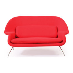 Kardiel - Kardiel Womb Mid-Century Modern Loveseat Sofa, Cherry Red Danish Cashmere Wool - The womb loveseat sofa offers seating for 2 in a relatively small footprint. The design of the Womb Chair is well known for its comfortable seating capability.  The external metal frame lifts the body well off the floor providing a light airy feel. The Womb Series in the 2-seat loveseat configuration is a relatively rare but highly sought after midcentury modern icon.