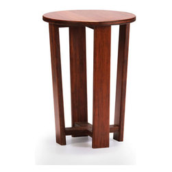 Rounded End Table - This circular table's design is simple, but visually pleasing and intriguing. And with a deep, warm finish on hardwearing bamboo construction, it'll last you for many years to come. Put it in an open space so you can admire its fine lines. Pair with the Rounded Coffee Table for a mid-century living room that goes outside the box.