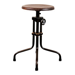 Nuevo Living - V19R Adjustable Stool, Seared Oak, Set of 2 - The popularity of industrial chic isn't about looks alone; it's in homage to a time when things were built to last. Case in point, this sturdily constructed, adjustable stool — a well-balanced cast iron piece with an oak seat and brazed joinery, the perfect addition to your favorite setting.