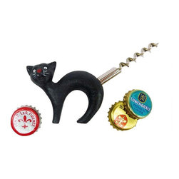 EttansPalace - Black Cat Bottle Opener with Corkscrew Tail - Your whole party will be howling at the moon along with this antique replica bottle opener that puts a twist on fun and functional decor with its corkscrew tail. Hand-crafted exclusively for using the time-honored sand cast method, this antique replica cast iron bottle opener, black cat figurine is hand-painted to capture vintage details from its ebony fur to long white whiskers.