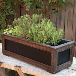 Blackboard Planter - Planting for Dummies! Spell out the contents of your seeding and sowing with this wood framed, side savvy blackboard planter. Has a galvanized tin liner. No green thumb? Fill it with ice and stash cold beverages at a party. A home and garden collection selected that bring happy memories of childhood past. Whether you are looking for period charm, a style of elegant restraint or just want to infuse a spirit of playfulness, you'll find it here.