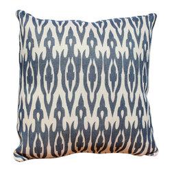 Auburn Design Studio - Blue and White Printed Jute Pillow - Jute Pillow.