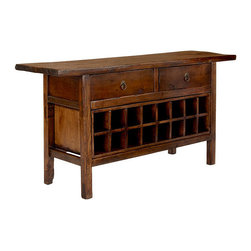 Vintage Chinese Wine Console Cabinet - This console has an old world Asian style that's beatiful, and lots of space that's practical. Two drawers for silverware and table linens, 12-16 slots for wine bottles, and lots of space on top to spread out...your spread!