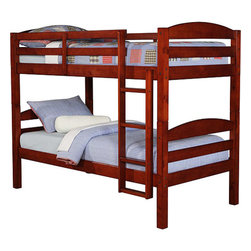 Walker Edison - Twin / Twin Solid Wood Bunk Bed - Cherry - Elegance and function combine to give this contemporary wood bunk bed a striking appearance. The design gives a stylish modern look crafted with beautiful solid wood. Designed with safety in mind, the bed includes full length guardrails and a sturdy integrated ladder. Great for any space-saving design needs. Unlike other twin bunk beds, this bed also converts into 2 twin beds.