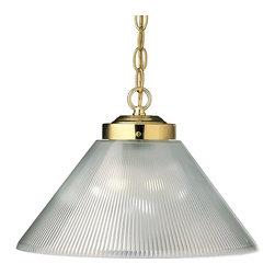 Progress Lighting - Progress Lighting P5127-10 Metal Shade One-Light Pendant in Polished Brass - One-light pendant with prismatic acrylic cone.
