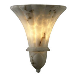 """Justice Design Group - Justice Design Group FAL-1490 Alabaster Stone / Glass Wall Washer Sconce from th - LumenAria Collection """"Venezia"""" Wall SconceFeatures the look of genuine carved alabaster without the costExtends: 7.5"""", 2.75"""" mounting centerUL listed for indoors (suitable for damp locations)Lamp: 2 40w Max Torpedo Type BA-9, Bulbs Not Included"""