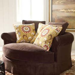 """""""Mason"""" Cuddle Chair - Craving some snuggle time with your special someone?  Surprise him or her with the  """"Mason"""" Cuddle Chair.  This chair is large enough to share with the one you love or just right for relaxing in style with your favorite book.61""""W x 57""""D x 35""""T."""