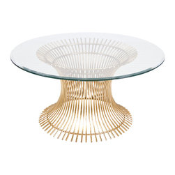 "Worlds Away - Worlds Away Gold Leaf Iron Coffee Table Base with 42""Dia Glass Top POWELL CF 42"" - Gold leaf iron coffee table base with 36"" diameter beveled glass top. Glass is 3/8"" thick."