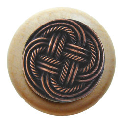 Classic Collection - Classic Weave Wood Knob in Antique Copper/Natural
